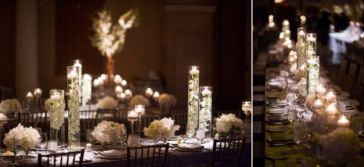 Liberty Grand wedding reception lots of candles table decor