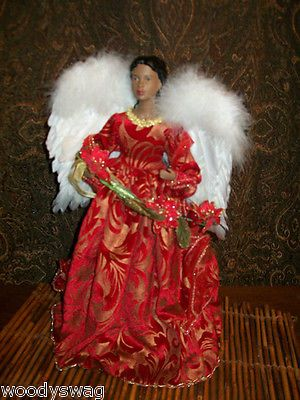 African American Black Angel Tree Topper Table NOS Christmas Red Gold Dress  Calling All Angels