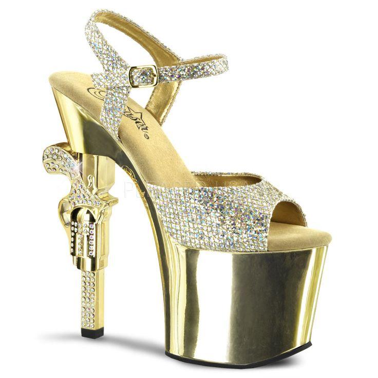 Revolver-709G Gold Multi Glitter Gun Heel Sandal By Pleaser Shoes-C
