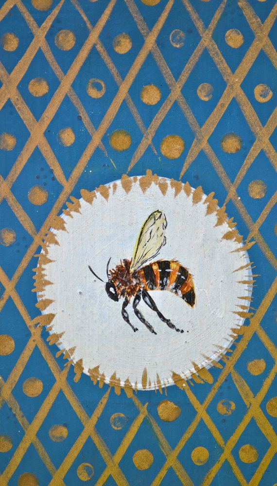 Drawing of a honey bee with blue and gold background. Bees.