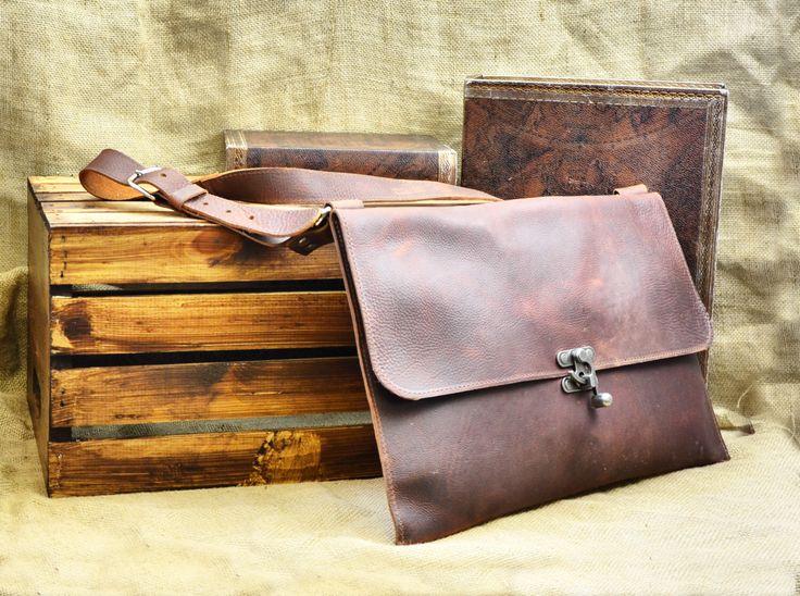 Leather Messenger Bag - Men's Leather Satchel - Distressed Leather Laptop Bag - Leather School Bag - Leather Book Bag by DivinaDenuevo on Etsy https://www.etsy.com/listing/246537694/leather-messenger-bag-mens-leather