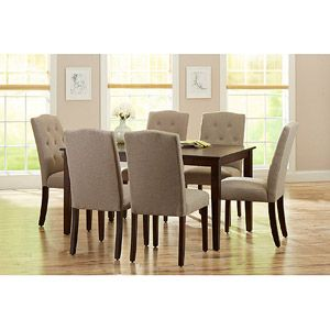 This is likely my pick for the dining room set.  Better Homes and Gardens 7-Piece Dining Set, Mocha/Beige