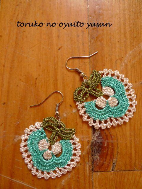 oya crochet motif earring Turkish Oya Lace