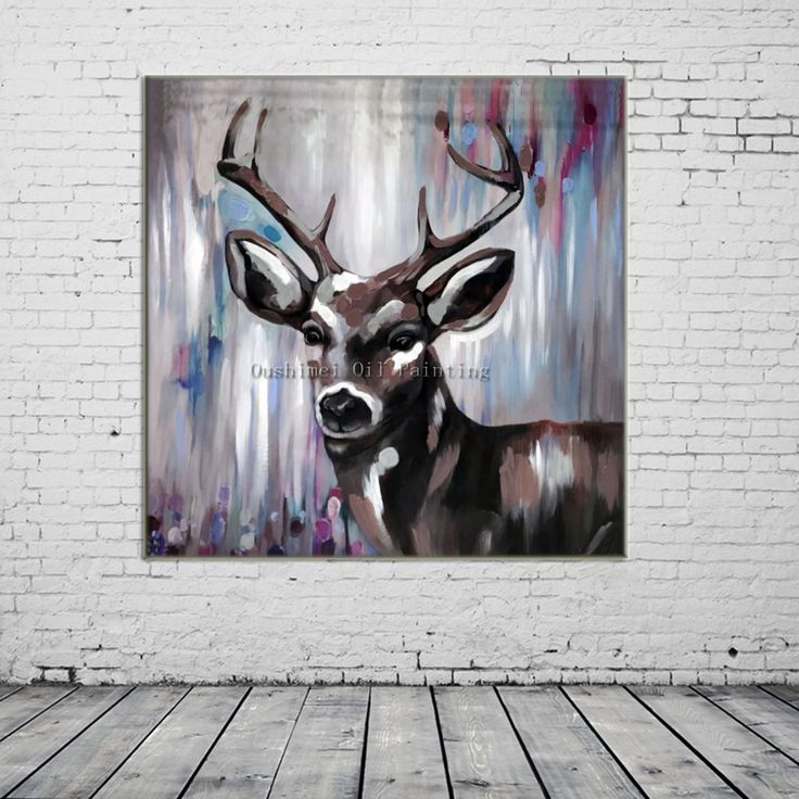 New Hand Painted Knife Animals Deer Oil Painting Hang Paintings Modern Abstract Picture For Decor Pictures Canvas Painting