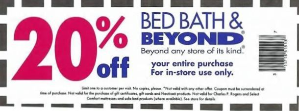 Bed Bath and Beyond Coupon 20