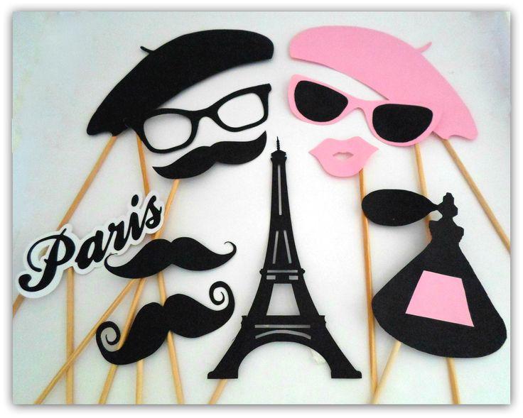 Props, Photobooth, Placas divertidas para fotografar. Paris, Torre Eiffel, beijo, flor de lis, fleur, perfume, parfum, bigode, óculos, boina.