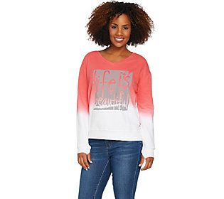 Peace Love World Dip Dye French Terry Knit Affirmation Top