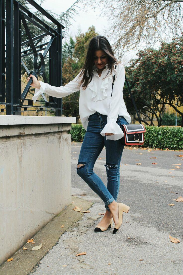 blusa de volantes zapatos bicolor zara