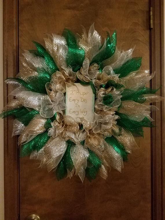 I Prosper Every Day In Every Way Prosperity Mesh Wreath