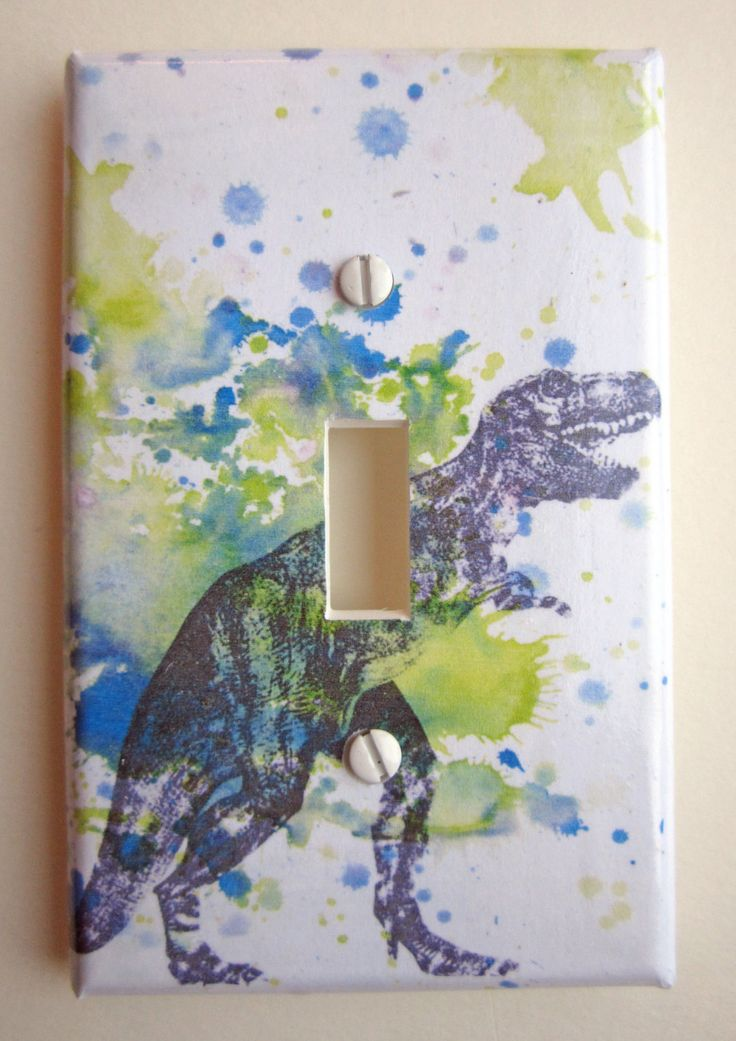 Tyrannosaurus Rex T-rex Dinosaur Decorative Light Switch Plate Cover Great for Children Kids Room Decor. $12.00, via Etsy.