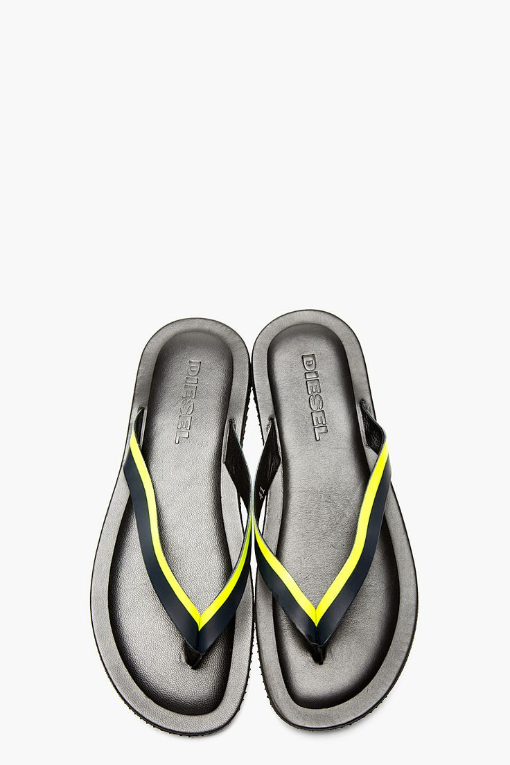 DIESEL Black Leather Neon Accent Seen-Thesis Sandals