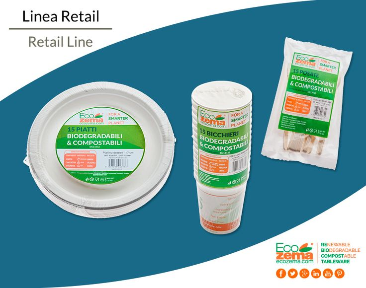 Biodegradable & Compostable Retail Line by Ecozema® : Plates, Bowls, Cutlery and cups - Packaging: 15 pcs. Linea Retail di piatti, posate e bicchieri biodegradabili e compostabili Ecozema®; packaging: 15 pz