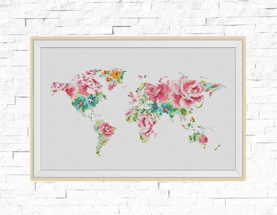 BOGO FREE! World Map Cross Stitch Pattern, World Map Silhouette Flowers Counted Cross Stitch Chart Modern Decor PDF Instant Download #025-17