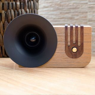 The Bluetooth Sound Machine, Nuvitron's tribute to the history of audio development. Meet Edison, the unique, handcrafted speaker that faithfully chronicles the evolution of sound reproduction.