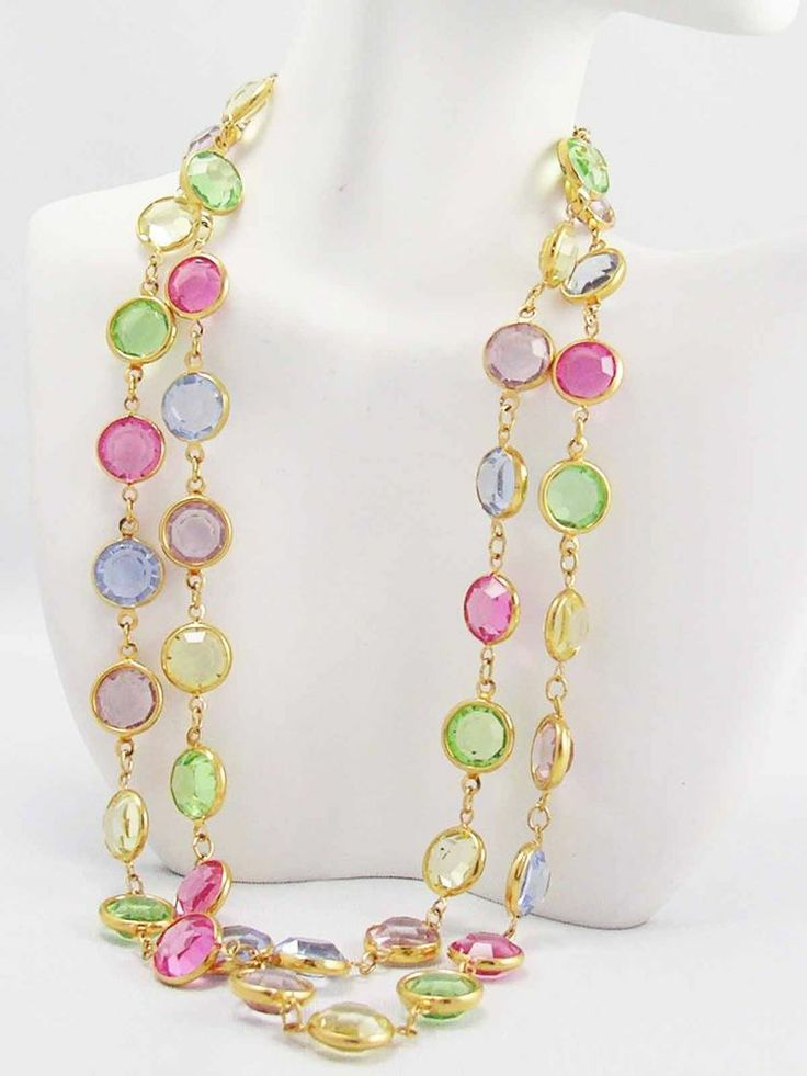 ~Swarovski Austrian Crystal Rainbow Pastels Bezel set Gold plated Necklace LONG