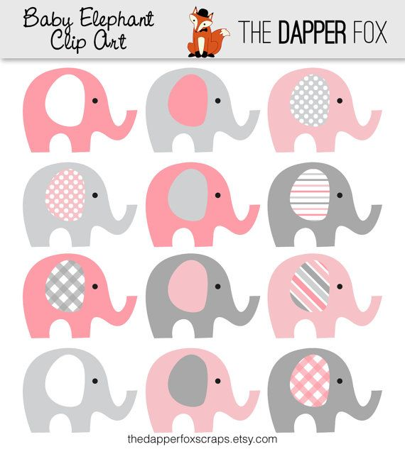Lovely Pink And Grey Elephant Clip Art   INSTANT DOWNLOAD   Baby Girl Baby Shower  Clipart Elephants