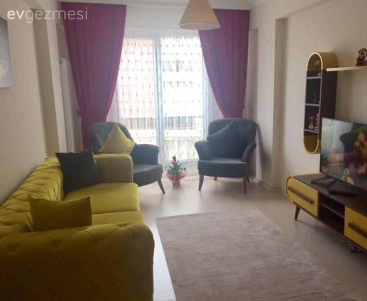 Berjer, Fon perde, Fuşya, Halı, Oturma Odası, Sarı, Yeşil