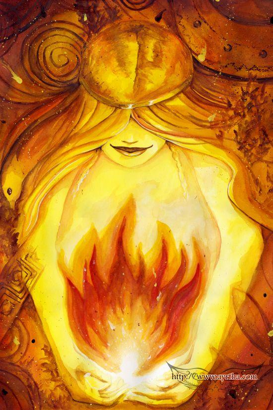 Invocação à Brighid - traduzido do original de Alexei Kondratiev: Ó Brighid, abençoada Deusa. Venha para as águas sagradas. Ó mulher dos três fogos fortes. Na forja, no caldeirão, na cabeça. Proteja-nos. Proteja meu povo!