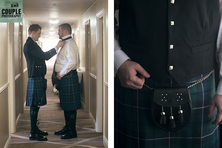 The groom gets a little help from his brother. Details of his kilt.Wedding in The Abbey Tavern, Howth. Photographed by Couple Photography.