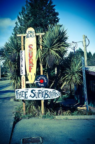 "#Tofino was named ""Best Surf Town in North America"" by Outside Magazine in their 2010 Editor's Choice Awards. 35-km of surfable beaches and shops (like Long Beach Surf Shop pictured here) abound between Tofino and Ucluelet on Vancouver Island's west coast. #exploreBC"