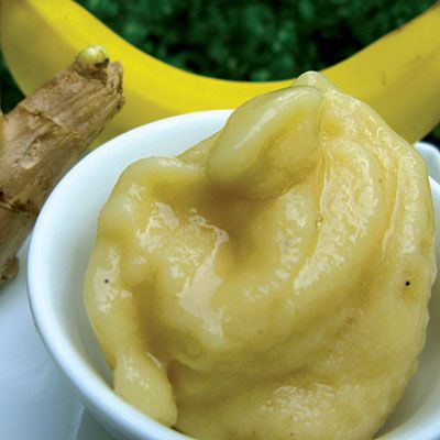 Quick Banana Sorbet  Ingredients  3 bananas, peeled  1 tbsp. ginger (peeled and grated fine)  1/8 tsp. ground cardamom  2 tbsp. honey  ¼ tsp. salt  3 cups ice    Directions  1. Place the bananas, ginger, cardamom, honey, and salt in the blender.  2, Blend on high until smooth.  3. Add ice and blend until creamy. Add more ice as needed.  4. Serve immediately or store in freezer.