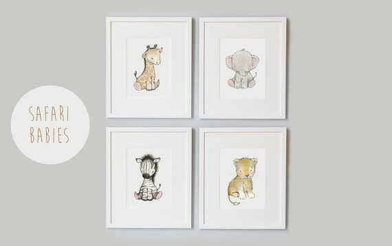SET of 4 Prints, Safari Babies, Africa Animals, Giraffe, Elephant, Zebra and Lion, Gender Neutral, Unisex Nursery Art