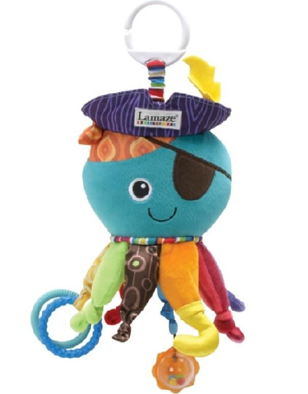 Lamaze Captain calamari has 8 activity legs.  Captain calamari will capture baby's imagination and stimulate senses with his 8 knotty activity legs, crinkly hat, clacking rings and surprise mirror.  #lamaze #baby #toys