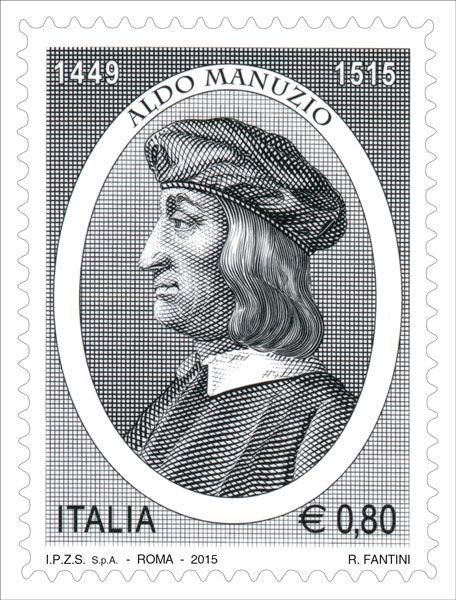 Francobollo commemorativo di Aldo Manuzio, nel V centenario della scomparsa