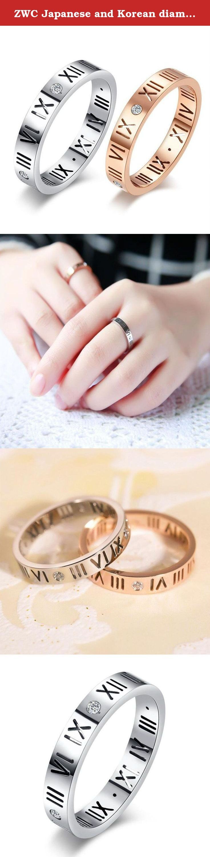 ZWC Japanese and Korean diamond-lucky number rings Roman numerals of titanium steel Rings Titanium steel couple ring , silver , 7. Material: Titanium Style: Korean version Style: letter/number Process: diamond For gift-giving occasions: birthday Color: rose gold, silver Size 5,6,7,8,9,10 Applying gender: Unisex Quantity 1pc.