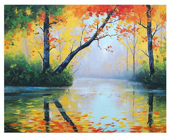 ORIGINAL pintura al óleo río impresionista árbol vibrante otoño paisaje arte árboles pintura por el galardonado artista Graham Gercken