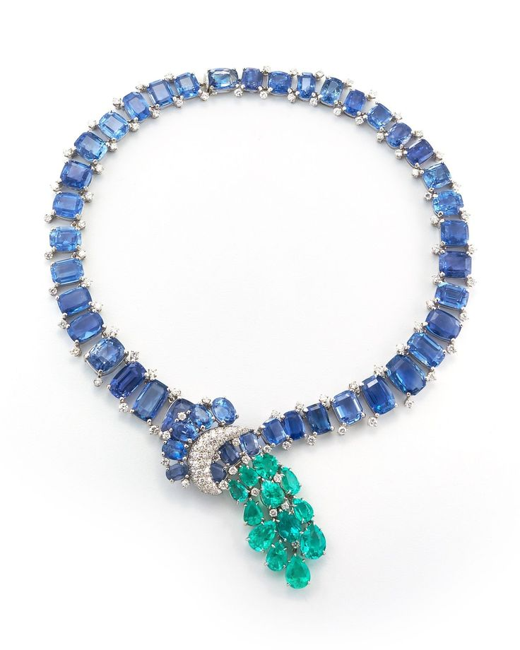 David Webb New York - Rectangular and oval-cut sapphires (Ceylon, no heat), pear-shaped Columbian emeralds, brilliant-cut diamonds, and platinum