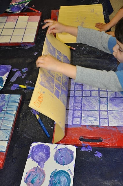 Tile Painting-I used to do this years ago - and then forgot about it. I am so glad to see the idea again. I believe I also had loose tiles  - square - triangle - rectangle in varying sizes that the kids could lay out in a temporary design, paint and make a print from.