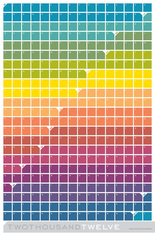 This large (23″ x 35″) wall calendar from Melissa Van Hoose features squares in a color gradient grid that remind me of paint swatches. It can be purchased on Etsy for less than $35.