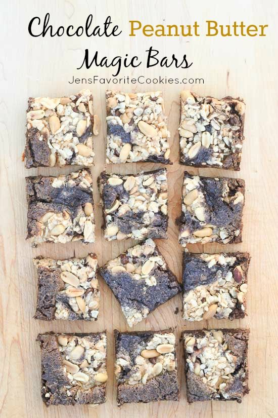 Chocolate Peanut Butter Magic Bars from JensFavoriteCookies.com - they are SO easy to make!