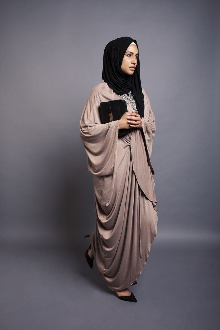 Stone Grecian Kaftan + Black Jersey Hijab   INAYAH www.inayahcollection.com