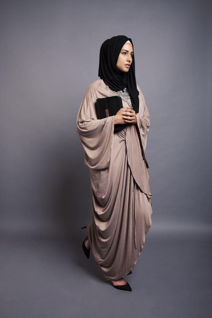 Stone Grecian Kaftan + Black Jersey Hijab | INAYAH www.inayahcollection.com