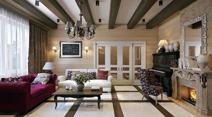 Дизайн уютных гостиных комнат - Балки