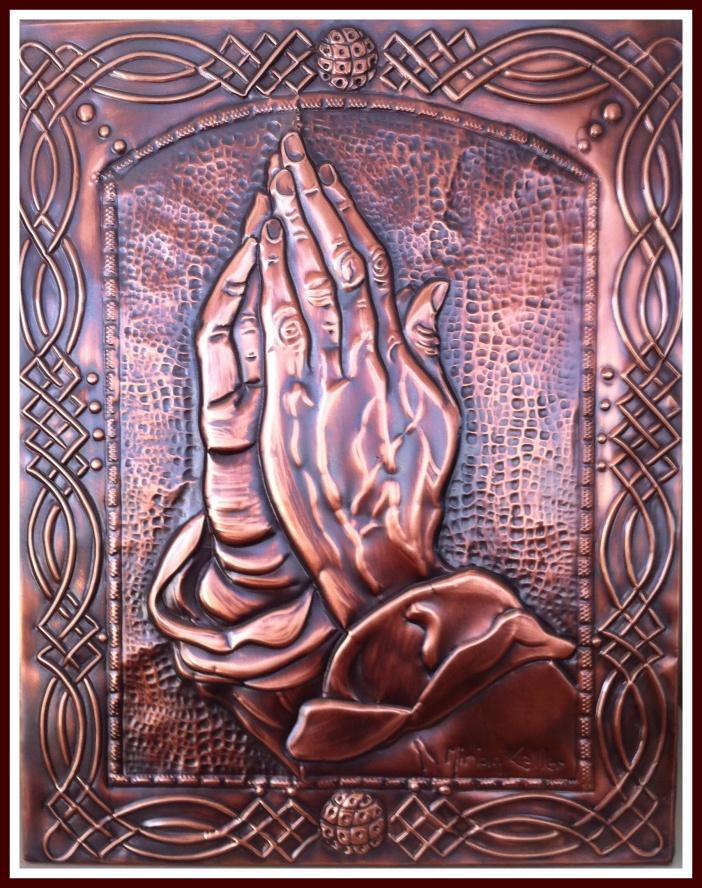 """QUADRO """"ORAI SEM CESSAR"""" -  Uma releitura da famosa obra e estudo das mãos, de Albrecht Dürer """" Prayng Hands""""...by Mirian Keller"""