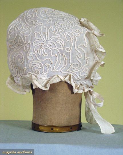 Lady's soutache-trimmed linen cap, 1860-1875. civil war era fashion