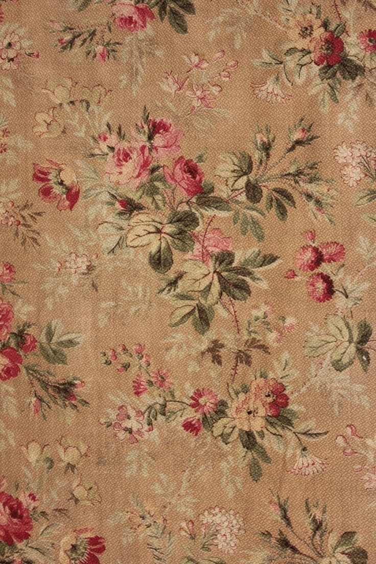 Details About Floral Cotton Fabric Small Antique French