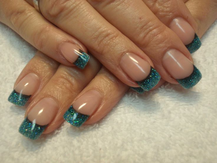 french manicure designs | Design » Glittery Blue French Manicure
