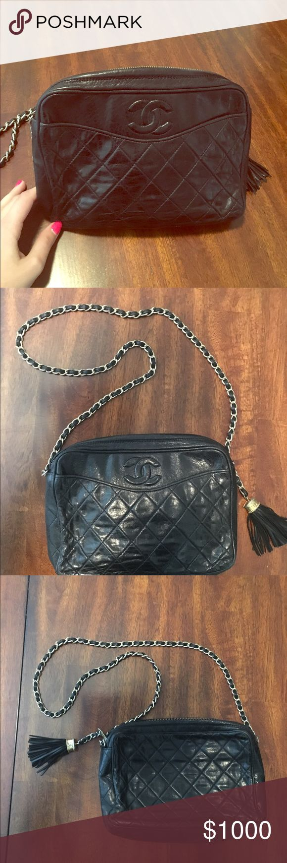 Vintage Chanel Bag Black with gold detail. Great for a night out! CHANEL Bags Crossbody Bags