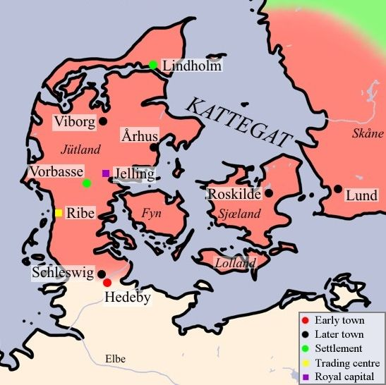 Map of Viking Denmark with Hedeby at the southern edge.