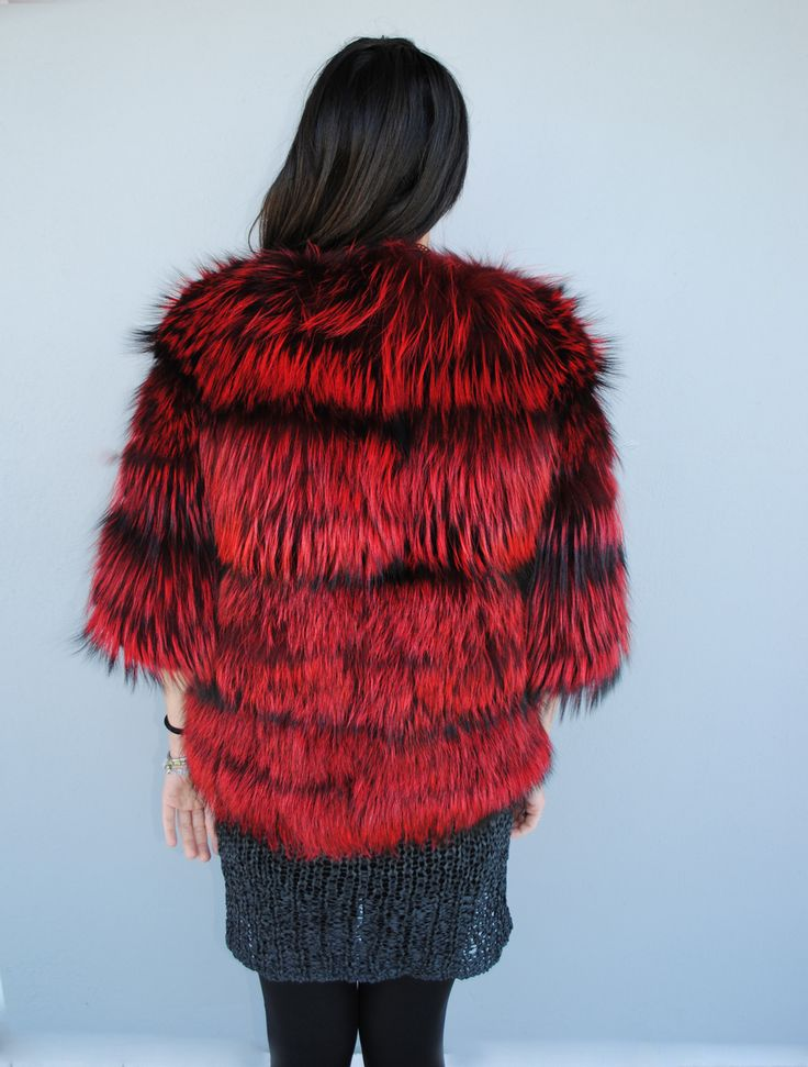 Go comfy with style. Try this edgy red fox fur small jacket.