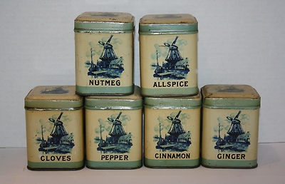17 beste afbeeldingen over vintage mooie dozen op for Retro kitchen set of 6 spice tins
