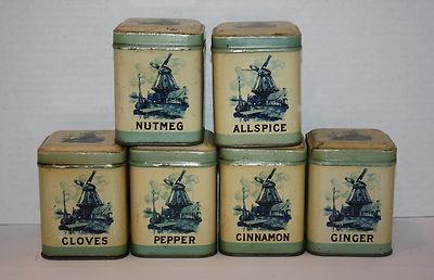 17 beste afbeeldingen over vintage mooie dozen op for Retro kitchen set of 6 spice tins
