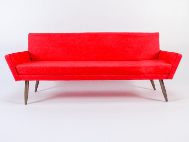 1:6 mid-century modern red sofa: $100 + shipping  NO HOLDS, PAYPAL ONLY, will ship globally. To claim, please respond to this post and PM me your mailing address and paypal email address, and I will invoice you via Paypal so that the sale is covered by both Buyer Protection and Seller Protection. No personal payments.
