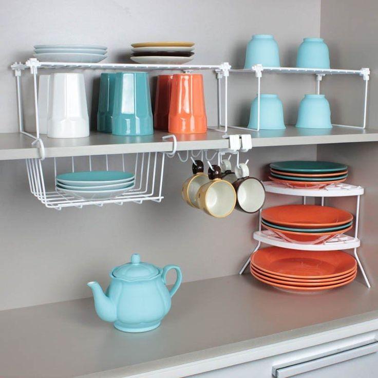 Um ótimo kit com 5 peças para organizar o armário de cozinha. Perfeito para quem gosta de organização e praticidade.