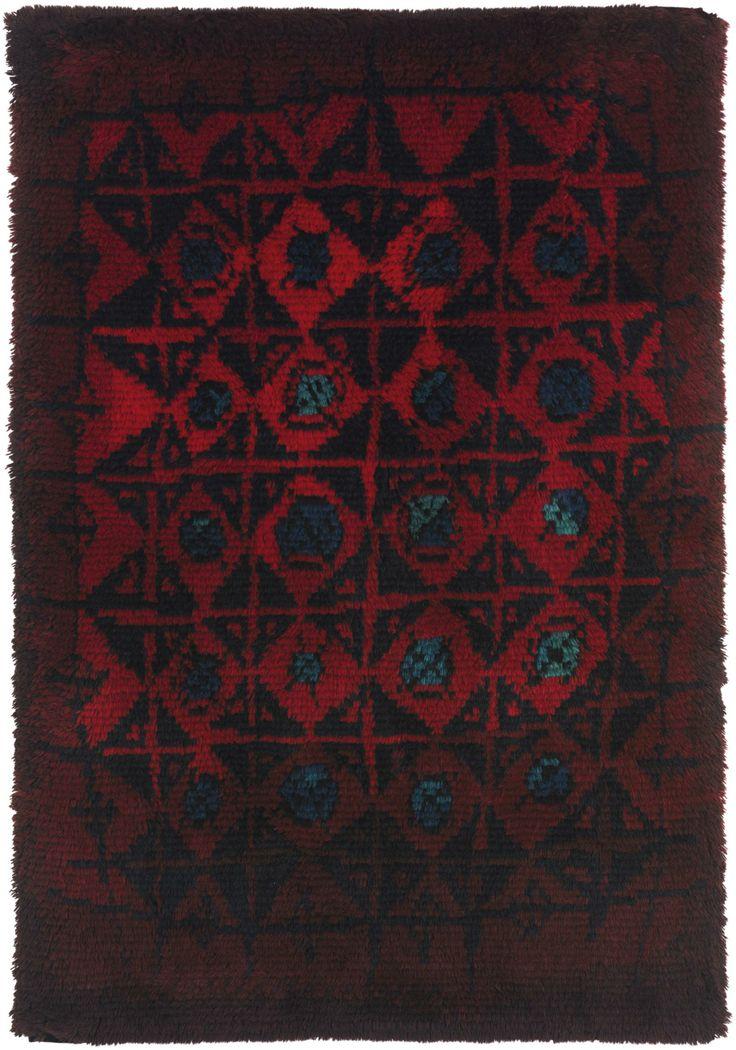 Kirsti Ilvessalo; Wool 'Palokärki' (Black Woodpecker) Rug for Suomen Käsityön Ystävät, c1954.