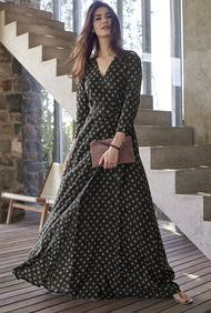 Diamond Dot Long Sleeve Maxi Dress